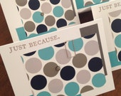 ON SALE The Just Because Matte Mod Polka Dot Note Card Set - Teal, Taupe, Light Grey, Dark Grey, Paper Clips