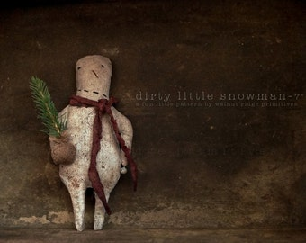 Instant Download E-Pattern Dirty Little Snowman Sewing, Doll, Ornament by Walnut Ridge Primitives