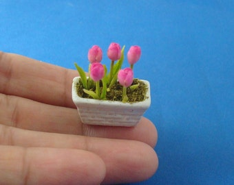 12th Scale Potted Pink Tulips for Dollhouse