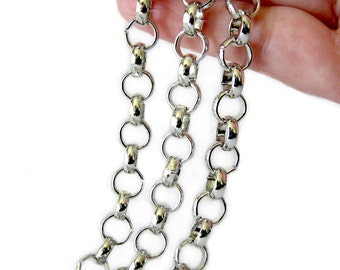 Chain : Antique Silver Rolo Chain / Rollo Chain - 8mm x 2.5mm .. SOLD per 3 FEET -- Lead, Nickel & Cadmium Free  55718