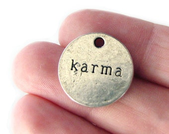 Charms : 10 Antique Silver Karma Charms / Silver Double-Sided Stamped Round Karma Charms ... 18mm ... Jewelry Findings 45137.C17