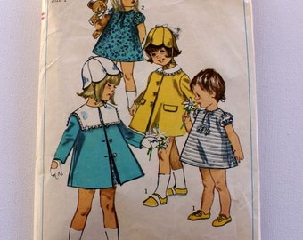 1960s Vintage Simplicity toddler dress and coat Pattern 6949 size 1