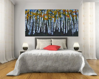 READY TO SHIP: 24x48 Aspen Birch Tree Woodland Colorful Fall Autumn Forest, Modern Tree Landscape