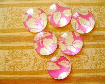 Pink Yellow Color Round Glass Magnet, Pink and Yellow Fridge Magnet, Pink Yellow Round Magnet - 6 PCS