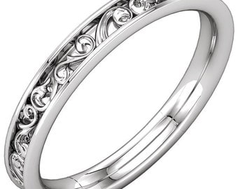 Fingerprint wedding band Sculptural Style Eternity Band  Fingerprint engraving Wedding Band w/ Sterling Silver ST232077
