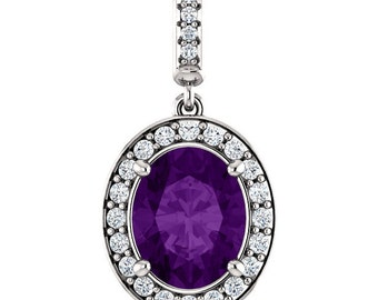 "Natural  10x8mm Oval  Amethyst  Solid 14K White Gold Diamond pendant with 18"" Cable chain- ST97183"