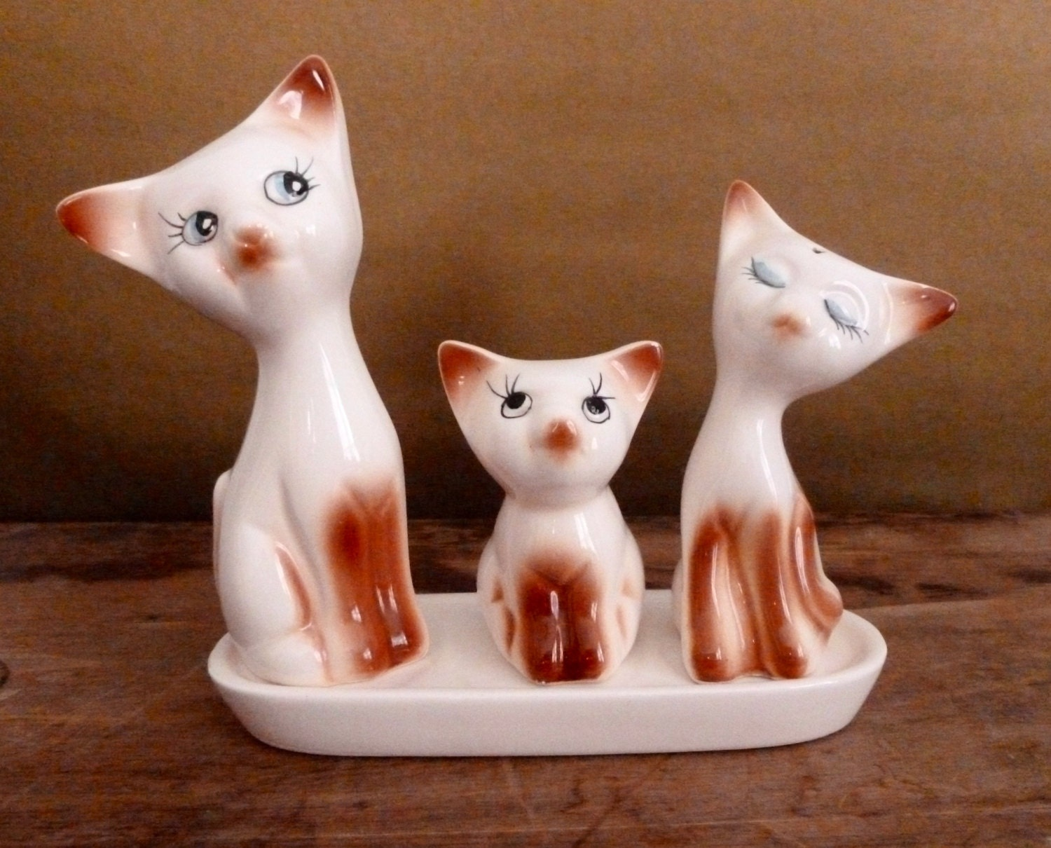 Vintage porcelain siamese cat shakers and toothpick holder set - Toothpick shaker ...