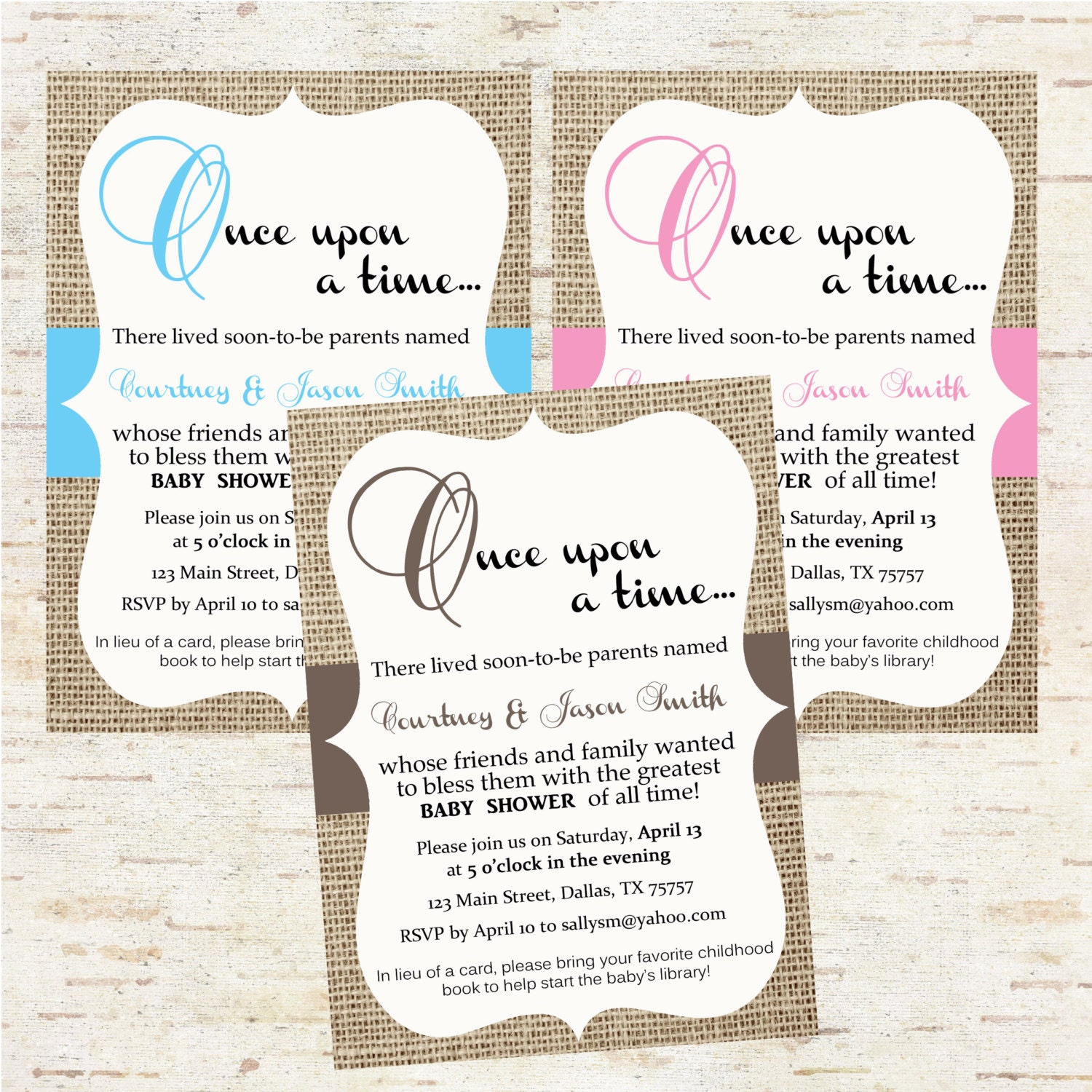 burlap storybook baby shower invitation once by oliviakatedesigns