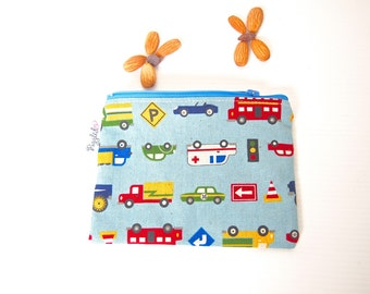 Zippered Snack Bag with Food-Safe Nylon Lining - Working Cars (Dusty Blue)