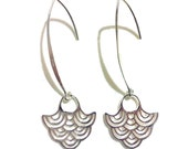 Art Deco Dangle Earrings, Ocean Waves Jewelry, Geometric Bridal Earrings, Sterling Silver, Japanese Earrings, NAMI
