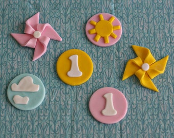 Fondant Pinwheel, Sunshine, Cloud and Age Fondant Toppers Perfect for a You are My Sunshine Party