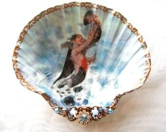 Mother Mermaid & baby Shell Jewelry Dish