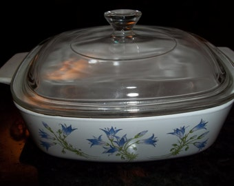 Corning Ware  1Quart/1Liter Blue Dusk AKA Purple Flowers with Pyrex Lid