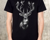 Deer with Birds in Antlers - Men's Graphic T-Shirt - American Apparel