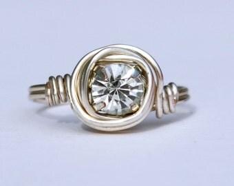 Rhinestone Silver Rosette Ring