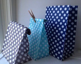 Reusable Lunch Bags- New Prints- Polka Dot-Teal-Gray-Dark Blue -Guy-Lightweight- Now with Velcro Closure