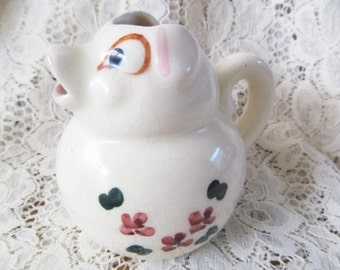 Vintage Wide Eyed ceramic Pottery Pig Creamer Floral Small Pitcher 1950s