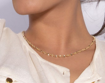 Gold Rope Necklace, Twisted Necklace Gold Vermeil 18k Victorian Chain Jewelry