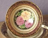 Vintage Mother's Day gift, Paragon teacup and saucer, Blue tea cup, yellow pink mums teacup, English tea cup, Bone china teacup, Antique tea