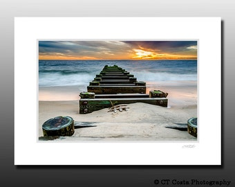Seascape Photography, Beach Sunrise, Blue and Orange wall art, Signed Matted Print, Ready for framing