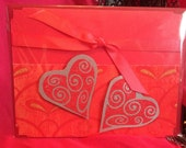 Pink and Red Paisley Heart Valentine, Wedding, Anniversary Card