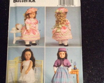 Butterick Pattern B6035 18 Inch Doll Clothes Wardrobe for Late 1800's New, Uncut, Factory Fold