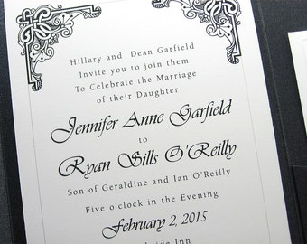 Wedding Invitation Black and White Bold Celtic Motif Pocketfold Invite Irish Wedding Pocket Custom Wedding Invitation