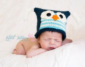 Owl Hat Knitting Pattern - Baby Owl Hat Pattern - Baby Knitting Pattern - Newborn Photo Prop Pattern - Animal Hat Knit Pattern
