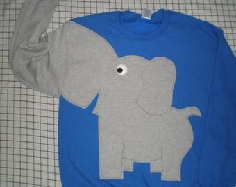 Royal blue Elephant Trunk sleeve sweatshirt, elephant sweatshirt, elephant jumper, UNISEX adult sizes
