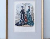 RESERVED TO HELEN - Framed illustration La mode illustrée - Toilettes de Mme Flandry, Chapeaux de Mme Deloffre - 1877 No 2