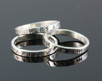 Set of 3 Sterling silver stack rings .....Wish, Dream, Believe in Love....Holiday Gift
