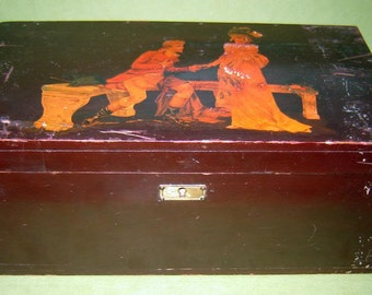 aNTIQUE pRIMITIVE 19c Wooden CHEST box for letters dokuments DOVETAILED LITHO with sECRET pLACE