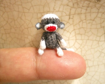 Crochet Sock Monkey 1 Inch - Mini Tiny Amigurumi Sock Monkey Miniature Stuffed Animals - Made To Order