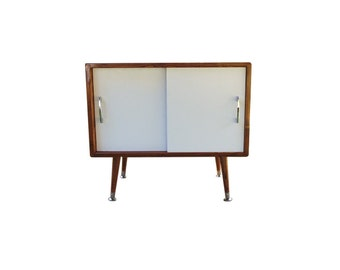Mid Century Inspired Record Storage Cabinet White Doors - MADE TO ORDER