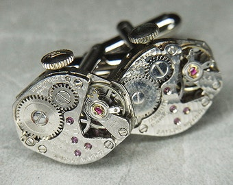 STEAMPUNK Cufflinks Cuff Links - Watch Movements Torch SOLDERED - Antique Silver w/ Hammered Texture - Wedding, Anniversary Gift