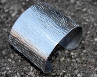 Textured Cuff Bracelet - Extra Wide Cuff - Silver Metal Cuff - Non Tarnish Cuff - Tree Bark Texture - Aluminum Cuff - Statement Jewelry