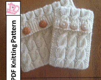 PDF KNITTING PATTERN, cable knit pattern in two sizes - sleeve, cover, case for iPad Mini, Kindle Fire , Nook, E Reader, tablet, iPad
