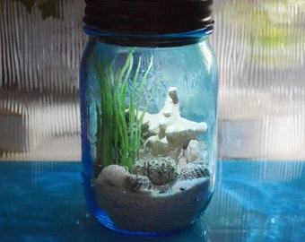 Nightlight Beach Terrarium Kit ~ Beach in a Bottle ~ Blue Mason Jar Terrarium Nightlight ~ Solar Lid ~ No live Plants ~ Beach Decor ~ Gift