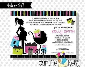 Printable Modern Mom Shopping Bags Colorful Baby Shower Invitation- Printable Digital File