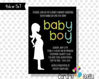 Printable Boy or Girl Simple Modern Polkadot Baby Shower Invitation- Printable Digital File