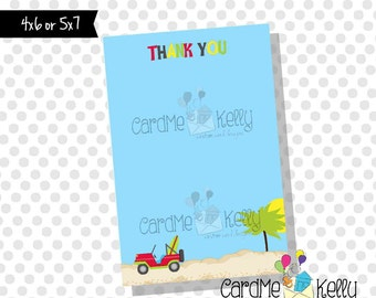 Printable 4x6 Coordinating Pink or Red Surfs Up Beach Jeep Baby Shower Thank You Note - Printable Digital File