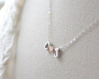 Personalized gift,Personalized Necklace, Silver Necklace, Couples Necklace, Initial Necklace, Heart Necklace, Gifts for Her, valentines gift