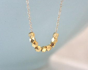 Gold Necklace, Dainty Gold Necklace, Gold Nugget Necklace, Bridesmaid Necklace, Birthday Gift, Gifts for Her, Best Friend, Gifts for Wives