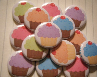 15 Rainbow Frosted Cupcake Pinback Button Party Favors Brooch Pin Set