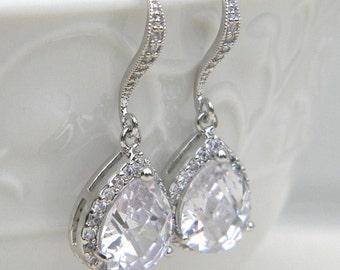 Wedding Jewelry, Bridal Earrings, Cubic Zirconia, Glass, Crystal Earrings, Silver, Bridesmaid Earrings, Bride Earrings, Bridesmaid Gifts