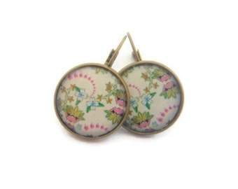Pink,Cream,Lime Green Flower Earrings