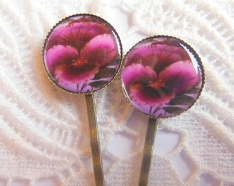 Magenta Flower Hair Clips Bobby Pins.