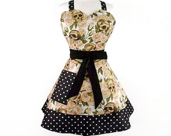 2 Tier Sweetheart Skulls and Roses Apron