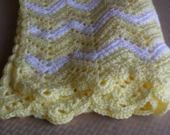 Crocheted Baby Blanket in Yellow/White Irresistible Ripple