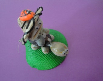 Sea Shell Seashell Caput  Turtle Rider Figurine